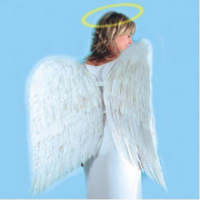 Ali angelo in piuma bianche h. cm.120x120 in busta