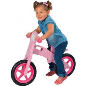 Bici pedagogica rosa senza pedali in legno