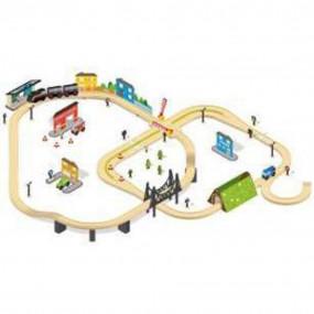Gran circuito con treno motorizzato in legno
