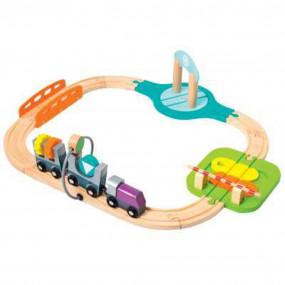 Trenino in legno con circuito