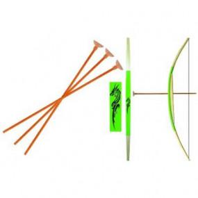 Arco giocattolo con frecce in legno verde