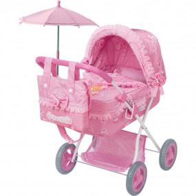 Carrozzina bambole con borsa rosa