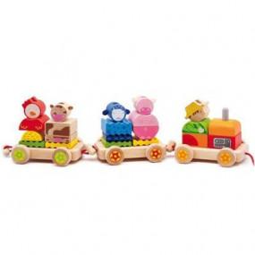 Trenino con blocchi animali in legno Djeco